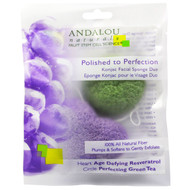 Andalou Naturals, Polished to Perfection, Konjac Facial Sponge Duo, 2 Pack