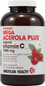 American Health, Mega Acerola Plus Chewable,  Natural Berry - 60 Chewable Wafers