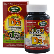Natures Plus, Source of Life, Animal Parade, Vitamin D3, Sugar Free, Natural Black Cherry Flavor, 500 IU, 90 Animal-Shaped Tablets