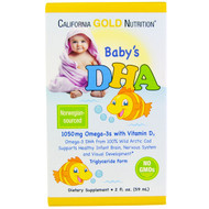 3 PACK OF California Gold Nutrition, Babys DHA, 1050 mg, Omega-3s with Vitamin D3, 2 fl oz (59 ml)