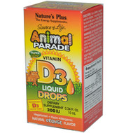 Natures Plus, Source of Life, Animal Parade, Vitamin D3, Liquid Drops, Natural Orange Flavor, 200 IU, 0.34 fl oz (10 ml)