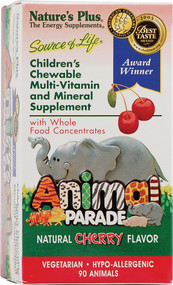 Natures Plus, Animal Parade Childrens Chewable Multi-Vitamin and Mineral,  Natural Cherry - 90 Chewables