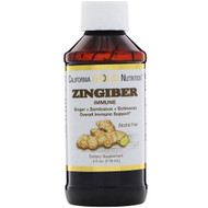 California Gold Nutrition, Zingiber Immune, Ginger + Sambucus + Echinacea, Alcohol Free, 4 fl oz (118 ml)