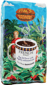 Jims Organic Coffee, Whole Bean,  French Roast - 12 oz