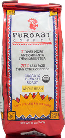Puroast, Organic Whole Bean Coffee 70% Less Acid,  French Roast - 12 oz