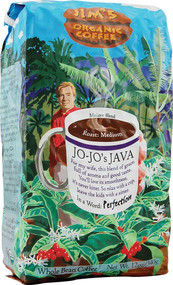 Jims Organic Coffee, Whole Bean,  Jo-Jos Java - 12 oz