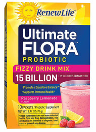 Renew Life Ultimate Flora Probiotic Fizzy Drink Mix Raspberry Lemonade - 15 billion - 10 Packets