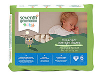 3 PACK of Seventh Generation Baby Overnight Diapers Stage 6 35+ lbs -- 17 Diapers
