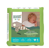 3 PACK of Seventh Generation Baby Overnight Diapers Stage 4 22-32 lbs -- 24 Diapers