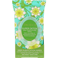 Pacifica, Super Detox, Deep Purification Wipes, Kale, Cucumber & Mangosteen, 30 Pre-Moistened Natural Towelettes