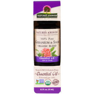 Natures Answer, 100% Pure, Organic Blend Essential Oil, Geranium & Sage , 0.5 fl oz (15 ml)