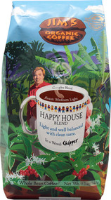 Jims Organic Coffee, Whole Bean,  Happy House Blend - 12 oz