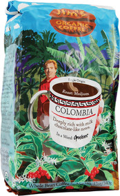 Jims Organic Coffee, Whole Bean,  Colombian - 12 oz