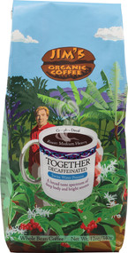 Jims Organic Coffee, Whole Bean,  Together Decaf - 12 oz