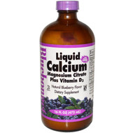 Bluebonnet Nutrition Liquid Calcium Magnesium Citrate Plus Vitamin D3 Natural Blueberry - 16 fl oz