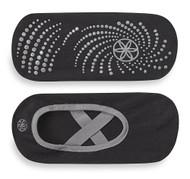 Gaiam Yoga-Barre Socks Black with Grey Trim -- 1 Pair