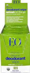 EO Essential Oil Products Organic Deodorant Wipe Tea Tree -- 24 Wipes