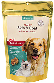 NaturVet Aller-911 Skin and Coat Allergy Soft Chews for Dogs and Cats - 90 Chewables