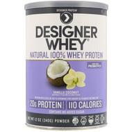 Designer Protein, Designer Whey, Natural 100% Whey Protein, Vanilla Coconut, 12 oz (340 g)