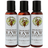 Tierra Mia Organics, Raw Goat Milk Skin Therapy, Face & Body Cream, Lemon Verbena + Coconut + Patchouli, 3 Bottles, 2 oz (56 g) Each