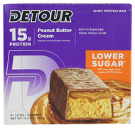 Detour Bar Lower Sugar Whey Protein Bar Peanut Butter Cream - 9 Bars