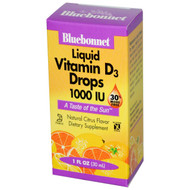 Bluebonnet Nutrition Liquid Vitamin D3 Drops Natural Citrus - 1000 IU - 1 fl oz