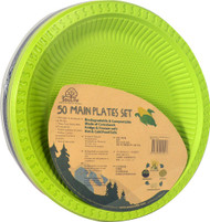 EcoSouLife Cornstarch Main Plate 9-Inch 3-Mixed Color Natural-Black-Lime - 50 Dishes