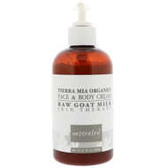 3 PACK OF Tierra Mia Organics, Raw Goat Milk Skin Therapy, Face & Body Cream, Unscented, 8 fl oz (226 g)