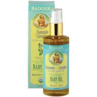 Badger Company, Calming Baby Oil, Chamomile & Calendula with Olive and Jojoba Oils, 4 fl oz (118 ml)