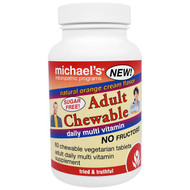 Michaels Naturopathic, Adult Chewable Daily Multi Vitamin, Natural Orange Cream Flavor, 60 Chewable Vegan Wafers