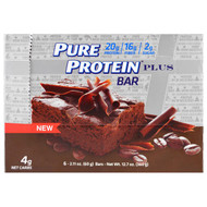 Pure Protein, Plus Bar, Mocha Brownie, 6 Bars, 2.11 oz (60 g)