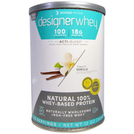 Designer Protein, Designer Whey, with Acti-Blend, Natural 100% Whey Based Protein, French Vanilla, 12 oz (340 g)