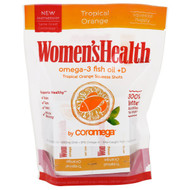Coromega, Womens Health, Omega-3 Fish Oil + D, Tropical Orange, 30 Packets, 2.5 g Each