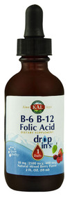 KAL B-6 B-12 Folic Acid Dropins Natural Mixed Berry -- 2 fl oz