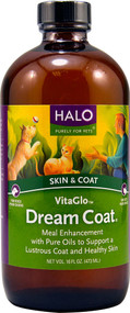 Halo Purely For Pets VitaGlo Dream Coat Meal Enhancement for Cats and Dogs - 16 fl oz