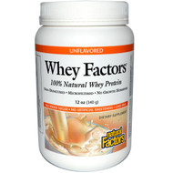 Natural Factors, Whey Factors, 100% Natural Whey Protein, Unflavored, 12 oz (340 g)