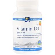 Nordic Naturals, Vitamin D3, Orange, 1000 IU, 120 Soft Gels