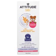 ATTITUDE, Sensitive Skin Care, Baby, Natural Baby Diaper Cream - Zinc, Fragrance Free, 2.6 oz (75 g)
