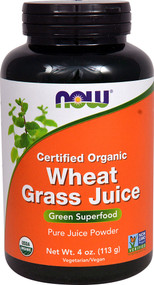 NOW Foods Organic Wheat Grass Juice Powder - 4 oz