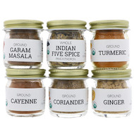 Pure Indian Foods, Organic, Indian Spice Starter Kit, Experience Level: Intermediate, Variety Pack, 6 Seasonings