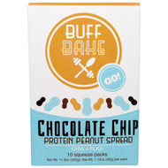 Buff Bake, Chocolate Chip Protein Peanut Spread, Chia + Flax, 10 Squeeze Packs, 1.15 oz (32 g) Each