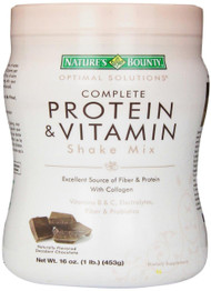 Natures Bounty, Optimal Solutions, Complete Protein & Vitamin Shake Mix, Decadent Chocolate, 16 oz (453 g)