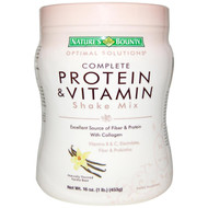 Natures Bounty, Optimal Solutions, Complete Protein & Vitamin Shake Mix, Vanilla Bean, 16 oz (453 g)