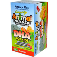 Natures Plus, Source of Life, DHA for Kids, Animal Parade, Childrens Chewable, Natural Cherry Flavor, 90 Animals