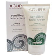 Acure Organics, Sensitive Facial Cream, Argan Oil + Sunflower Amino Acids, Fragrance Free, 1.75 fl oz (50 ml)