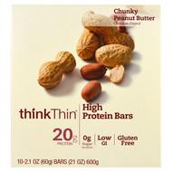 ThinkThin, High Protein Bars, Chunky Peanut Butter, 10 Bars, 21 oz (60 g) Each