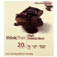 ThinkThin, High Protein Bar, Chocolate Fudge, 10 Bars, 2.1 oz (60 g) Each