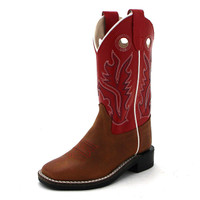 OLD WEST YOUTH RED/TAN SQUARE TOE BOOT