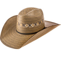 AMERICAN 2-TONE GREY & WHEAT STRAW HAT