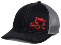 SNIPER HOG TRUCKER HAT BLK/RED